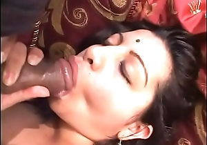 Plump Indian honey with nice boobs sucks and fucks two big dicks in bed