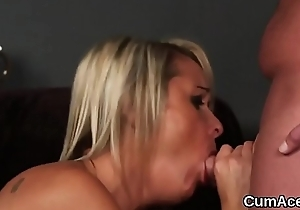 Slutty stunner gets cumshot out of reach of her face sucking all the spunk