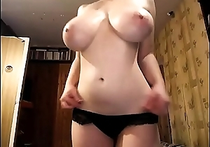 The Most Awesome Pair of TITS you'_ll see today! Naturally busty girl strips and masturbates. 100% real giant boobs, incredible amateur juggs on a slender chick.
