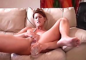 Milf Masturbating With Her Glass Dildo For Boyfriend'_s Pleasure