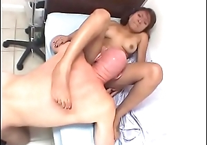 Nice tits brunette slut sucks a cock and gets fucked hard above the bed