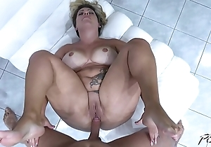 Busty piece of woman ride cock so horny that cum on fat pussy fast