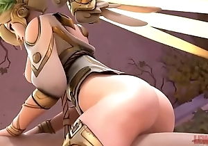 Winged Victory Mercy Cowgirl Overwatch blender Animation WSound  cartoon big tits