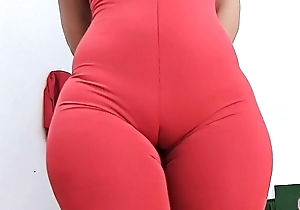HUGE ASS Super ROUND and Tiny Waist PERFECTION Plus Cameltoe in Tight Spandex Bodysuit