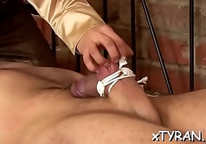 Femdom fetish with playgirl making dude fuck their way with line on
