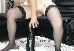 Sarah fucks enormous toys in her greedy pussy