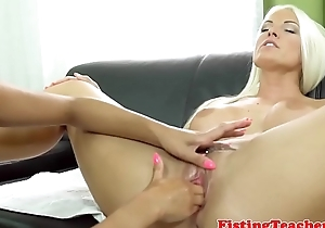 Mature euro fisted by lesbian beauty