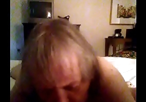 Granny sucking cock to get off