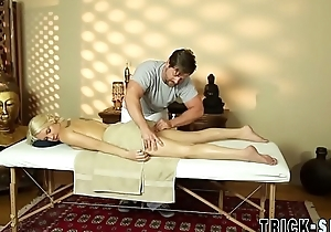 Blonde fucks masseur for jizz