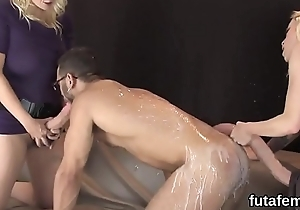 Nymphos muck up dudes anal with massive strap-ons and ejaculate jizz