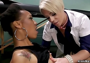 Blonde doctor anal fucks ebony in bondage