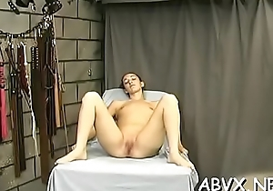 Young babe endures harsh treatment on her pussy with the addition of hallow melons