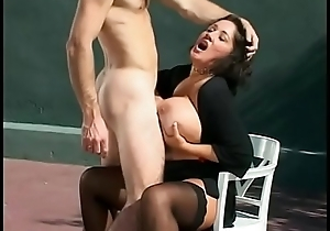Randy cock sucking babe Rebecca Bardoux is creamed increased by takes a dick in the cunt on tennis court