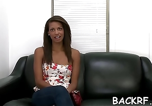 Lusty vixen welcomes a young interviewer to fuck her vagina