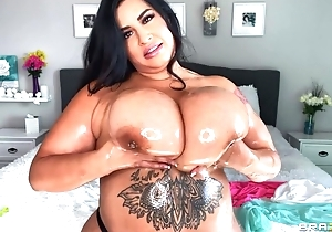 Hot BBW oils her immense gut and plays nearly them