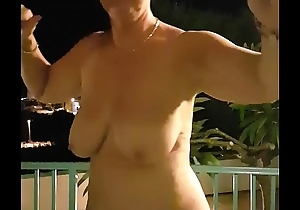 Mrs j kath jones stripping on balcony and dancing