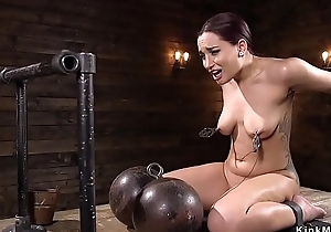 Bound babe ass and paws caned