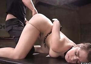 Slave gets training with cock in throat