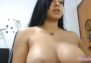Natural obese tits Latina amateur finds a recent fucker