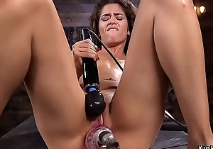 Small tits babe takes monster gadget