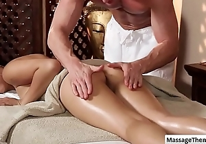Cutie asian babe Miko Dai gets a nice ass rub with an increment of boobs massage