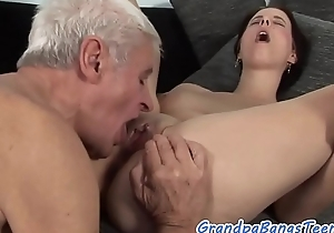 Inked eurobabe with bigtits fucked by oldman