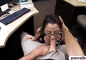 Slim babe with glasses gets pussy banged by pawn keeper