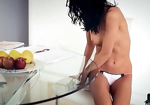 Sexy brunette Sapphira A gets saleable while cogitating