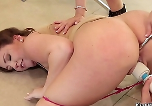 Lesbian boss anal toys and fists babes