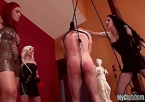 A tied slave is getting spanked and treated with kinky sex toys