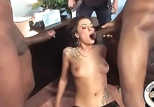 Giant black cocks gust cum all over cheating slut wife