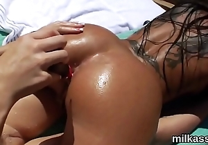 Randy lesbians fill up their huge bums with milk and squirt it out