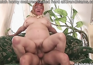 Aged hairy granny is thirsty for a young cock